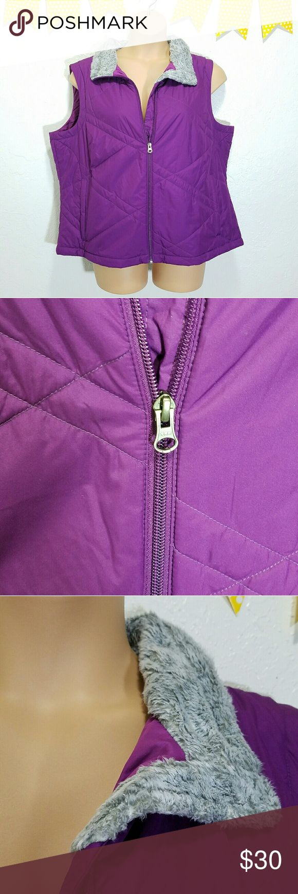 """Columbia 2x Purple Quilted Spring Vest C17 -Excellent used condition- faux fur shows some matting -Two zippered pockets -Faux-fur collar Please use measurements for best fit, all measurements are taken laying flat: -Bust 26"""" -Length shoulder to hem 25.5"""" -Width shoulder to shoulder 18.5""""  -100% Polyester -Deep purple body, gray faux-fur  (colors' appearance may vary on screen)  Questions? Just ask! Bundle to save!  Offers welcome  Happy Poshing! Columbia Jackets & Coats Vests"""