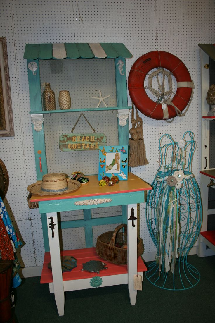 Arts and crafts hall tree - Potting Bench Hall Tree Made From Old Screen Door Fun Coastal Colors
