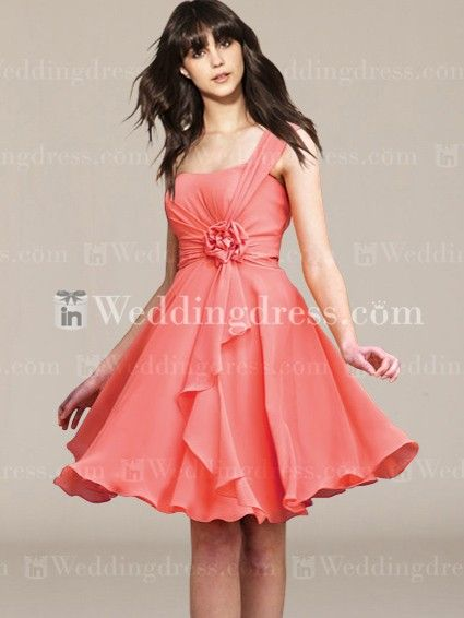 Like the style bridesmaid dress. I think the A-line would compliment just about all the girls and its got a slight sweetheart neckline, that's just enough to make it look great without being too low cut.