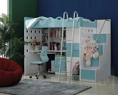 "Model PR-2 Bunk Bed.  Bunk bed with study table attached & chair  Exterior sizes: App 96""x42"" Upper mattress size: 75""x40""​ ​ Colour Options  Available colour shown ​(light pink) ​as well any any colour combination you desire.  Price : Rs.70,400/- Chair: Rs.4,000/- Extra Delivery Estimated ​d​elivery time is 35-45 day.  Note:Side steps front is covered there are no drawers, Drawer can be made at extra cost Rs.800/- per drawer visit http://kidsfurnitureworld.in/bunk-beds.html"
