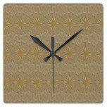 Kaleidoscope Design Light Brown Rustic Floral Square Wall Clock  #Brown+ #Clock #Design #floral #Kaleidoscope #Light #Rustic #RusticClock #Square #Wall The Rustic Clock
