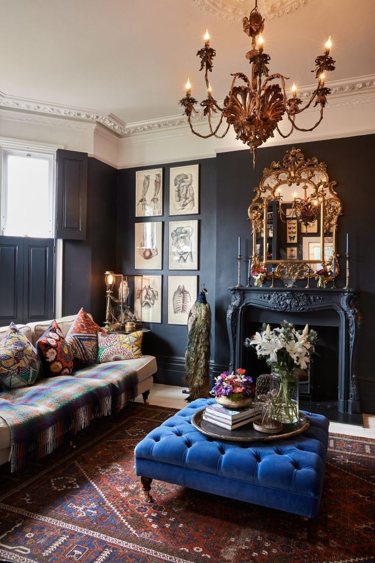 Love The Pop Of Blue In This Sumptuous Interior Victorian Home Decor Victorian Living Room Modern Victorian Decor