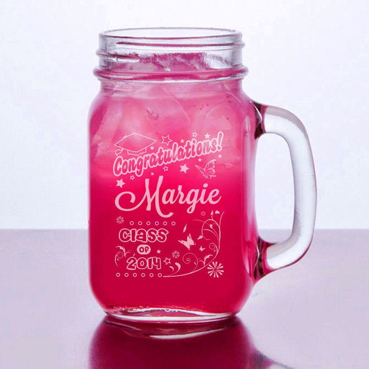 Graduation Class of 2017 Gift Engraved Mason Jar Glasses Personalized Drinking Mug Glass Etched Gift Party Favor Graduate Gift by eugenie2 on Etsy https://www.etsy.com/listing/187965096/graduation-class-of-2017-gift-engraved