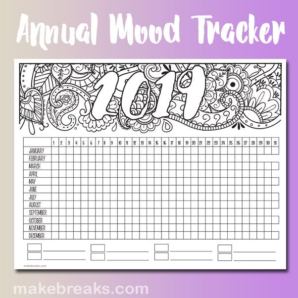 2019 Annual Mood Tracker Free Printable Planner Page ...