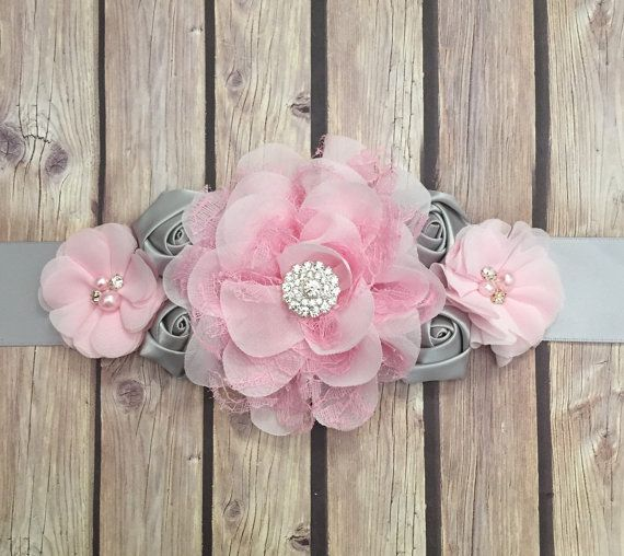 Pink and grey maternity sash maternity sash baby by Heavenandhalos