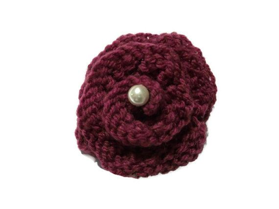 Hand knit brooch Rose & pearl Buttonhole by thekittensmittensuk, £4.00