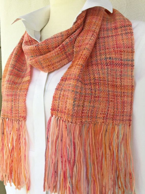 Peach Hand Woven Scarf - Woven Scarf - Handmade Scarf - Merino Wool Scarf - Womens Scarf - Winter Scarf - Christmas Gift - Gift for Her