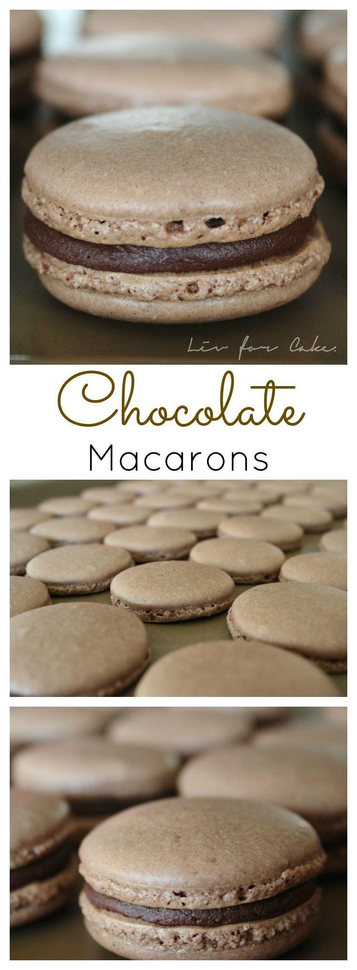 Chocolate macarons filled with a rich dark chocolate ganache. | livforcake.com