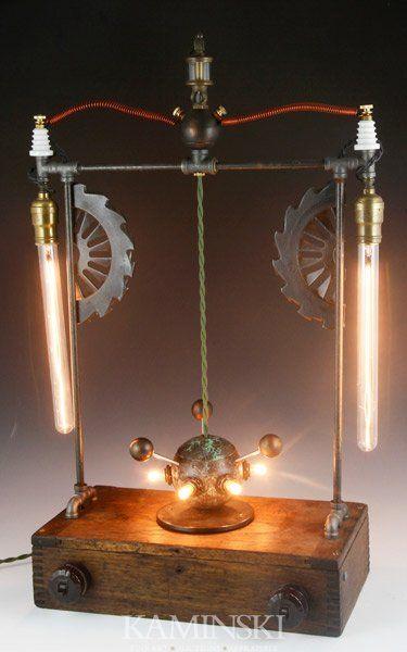 "Chris Osborne (American b.1950), assemblage lamp #45 ""Jitterbug"", sculptural steampunk lamp"