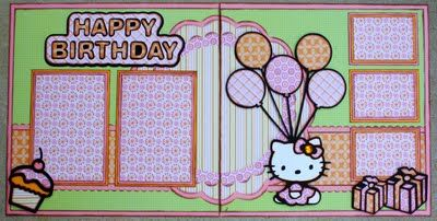 Layout done with the Hello Kitty Cricut cart.  I really like how the title is done on this one.