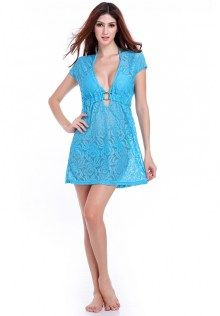 Floral Lace Deep V Neck Swimsuit Cover Up Dress