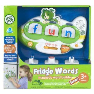 """Leap Frog Fridge Magnetic Words. Perfect for age 1-5.  Starts with just learning the sounds of each letter and builds up to kids spelling words in the """"Word Finder"""" game."""