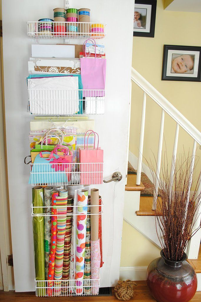 Install racks at the back of closet doors for a place to put your rolled-up wrapping paper.