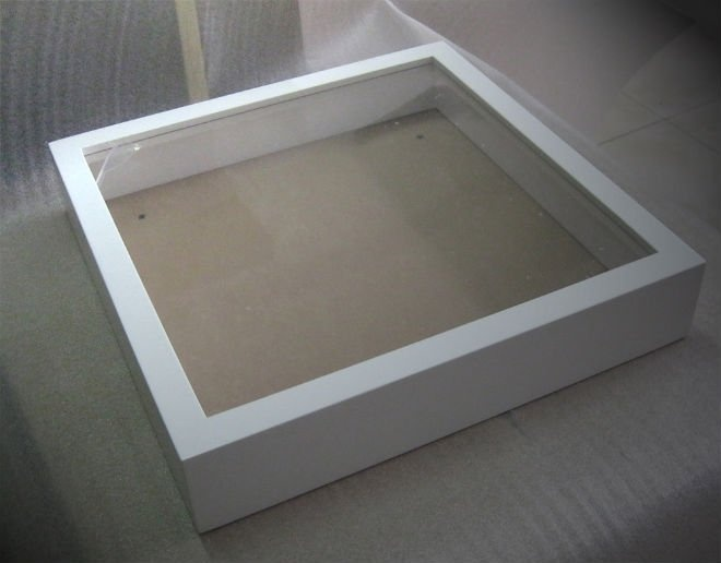 white 3d wooden shadow box frame