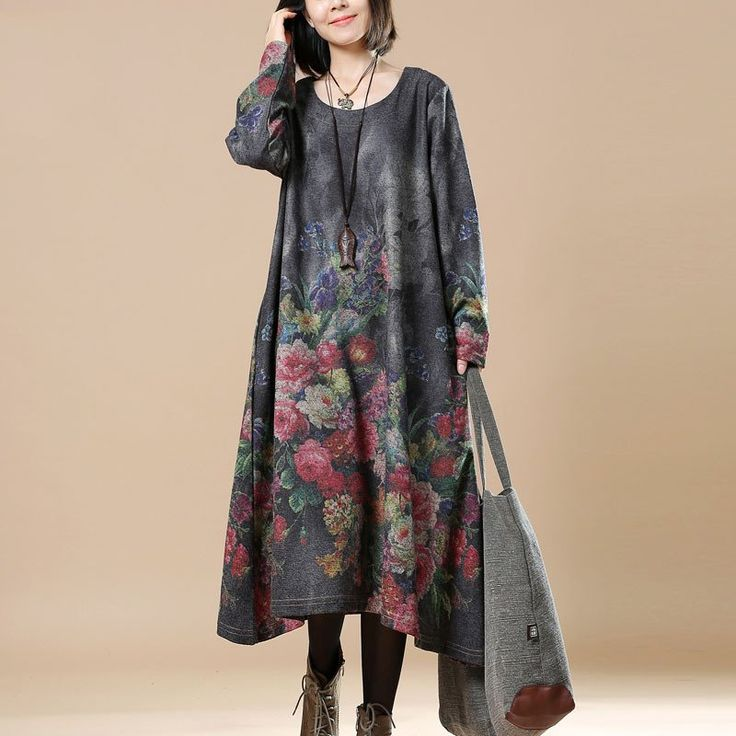 Women Print Casual Loose Round Neck Long Sleeve Dress