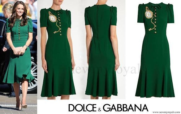 DOLCE and GABBANA Pocket watch-appliqué crepe midi dress