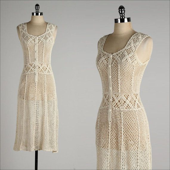 vintage 1970s dress . ivory cotton crochet by millstreetvintage, $145.00