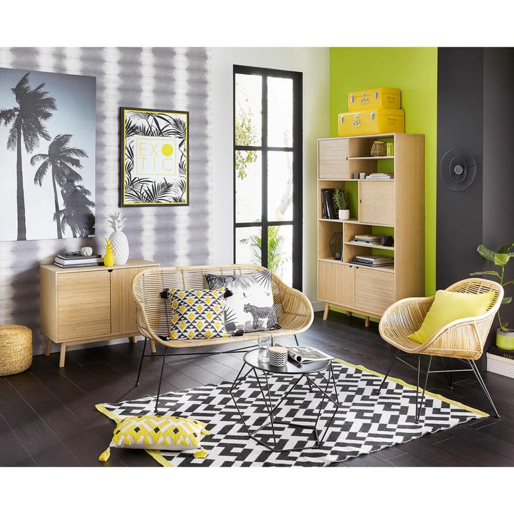 Grey And Yellow Living Room | EXOTIC Black And Yellow Tropical Print Canvas  70 X 90