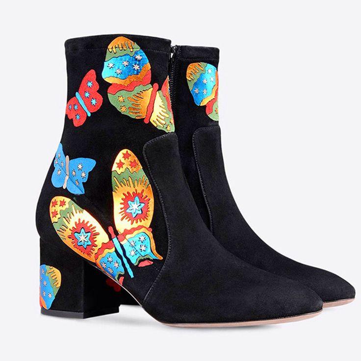 Богемия Обувь Женщины Квадратных Высокие Каблуки Печати Моды для Женщин, Сапоги Из Нубука Кожаные Ботинки Осень Мотоцикл Botas Размер 35-42