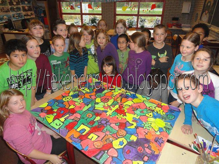 Door leerlingen van groep 6  Benodigdheden:   tekenpapier op A1 formaat  plakband  plakkaatverf  kwasten    Plak voor deze opdracht een a...