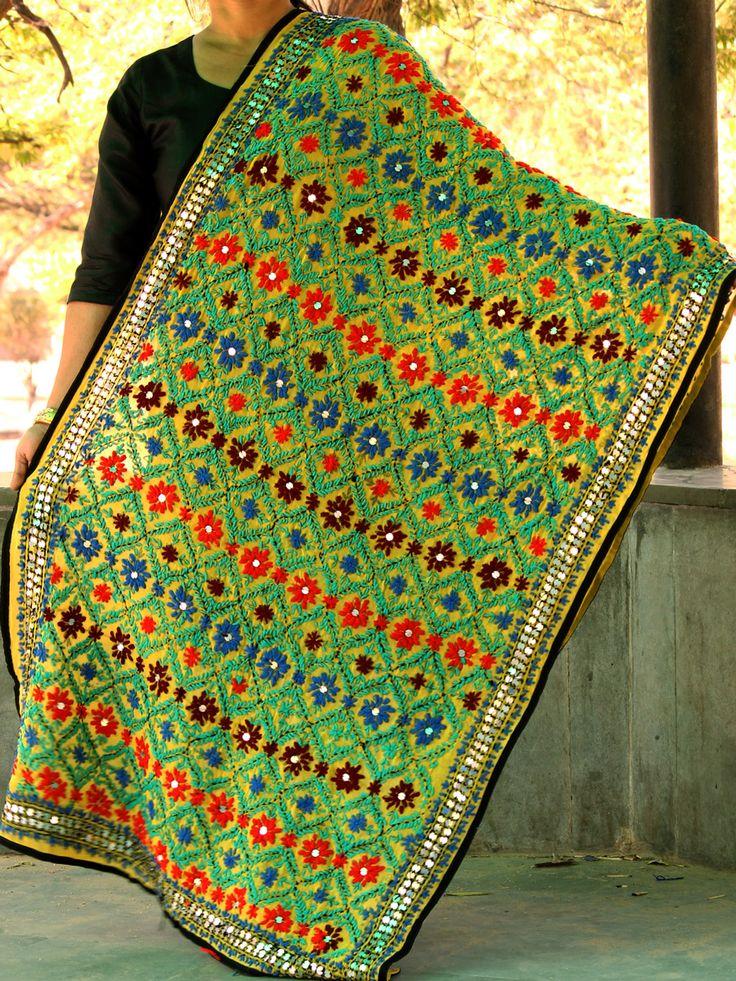 Multicolor embroidery on Greenish-Yellow georgette fulkari Dupatta online. #phulkaridupatta #fulkari #phulkari #embroidery #punjabi #Shilphaat