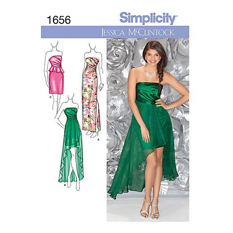 Simplicity Jessica Mcclintock Occasion Dresses Sewing Pattern 1656 Online At Johnlewis