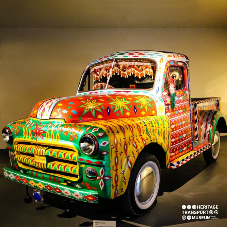 The Dodge pickup van portraying a contemporary form of truck art, usually done with stickers & colourful tapes.  #truckart #contemporary #pickupvan #vintagecollection #vintagetransport #transportmuseum #incredibleindia