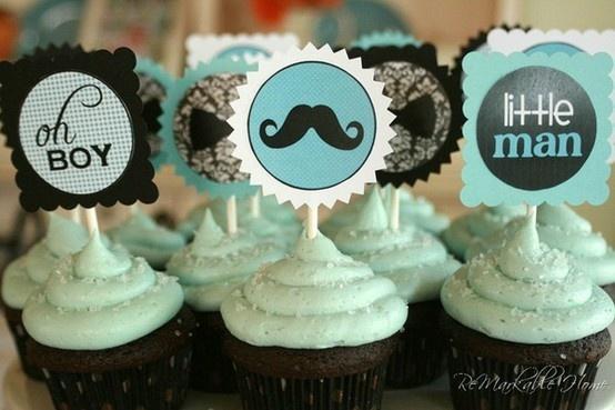 #baby party #BOY Babyshower #cupcakes #blue #moustache