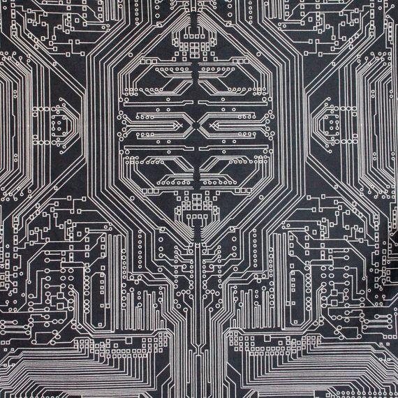 SALE+Circuit+board+Geometric+Print+Velvet+Fabric+by+FlockStudio,+£72.00