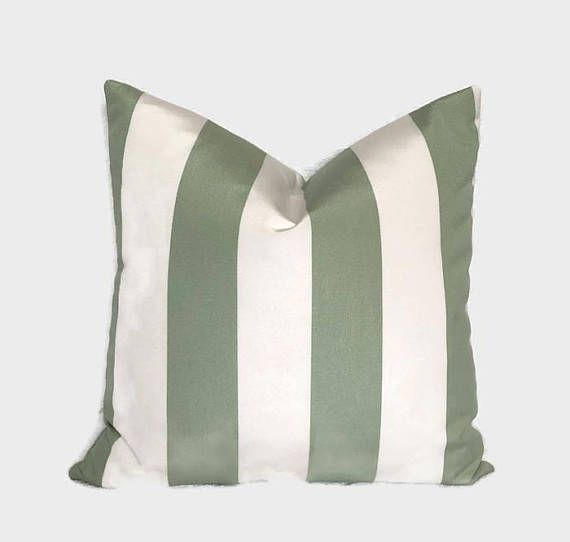 Farmhouse Sunbrella Pillow Mint Green White Canopy Stripe