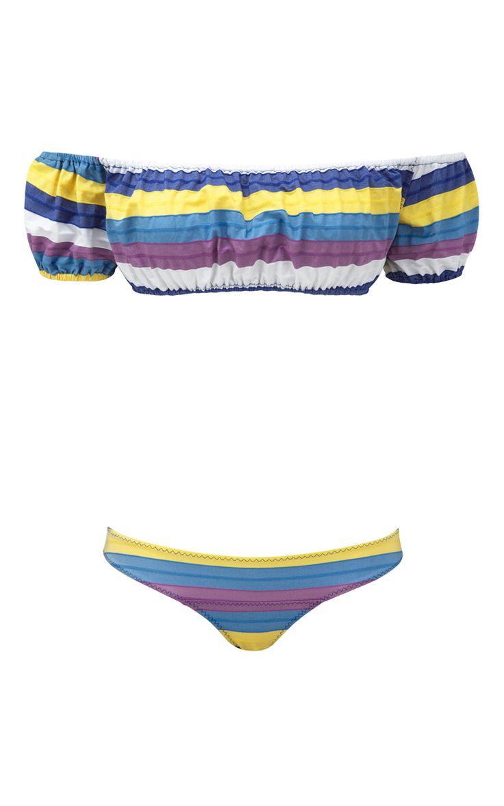 Bubble Striped Off The Shoulder Bikini Set  by LISA MARIE FERNANDEZ Now Available on Moda Operandi