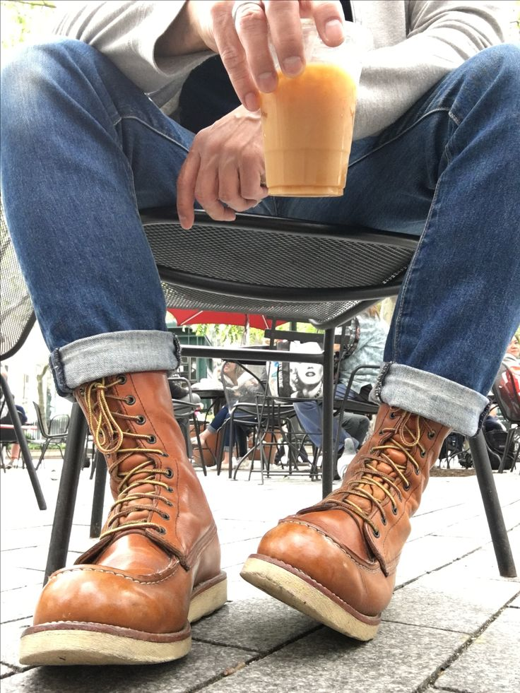 Red Wing Heritage 877 Mocs taking an iced coffee break