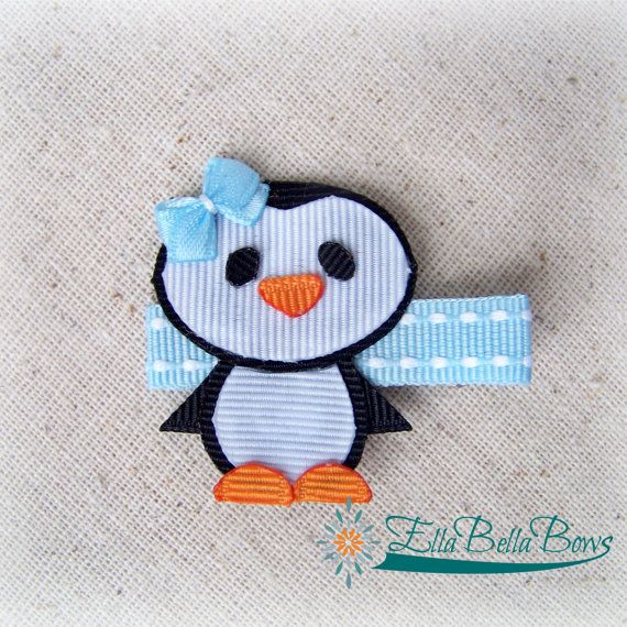 Penguin Ribbon Sculpture Hair Clip Bow Accent por EllaBellaBowsWI
