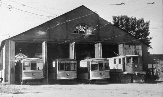 Marion Indiana streetcar barn at 30th and Home Ave. circa 1930. Photo courtesy Marion Public Library Historic Collection.
