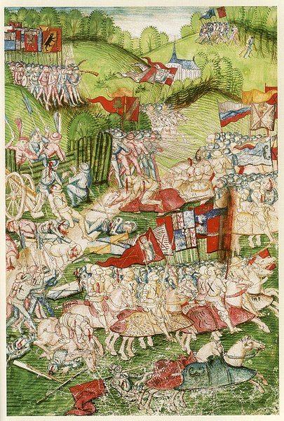 1476.Murten-Schlacht 1476, Bern,Burgerbibliothek,Mss. Hist.Helv.I.3,S.757.1480/84. Katalog Karl der Kühne 2008,Tafel 76.Berner Chronik.Burgundian Wars.