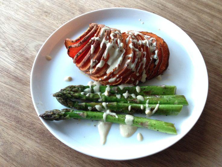 Vegan Dinner | sweet potato, asparagus and tahini dressing