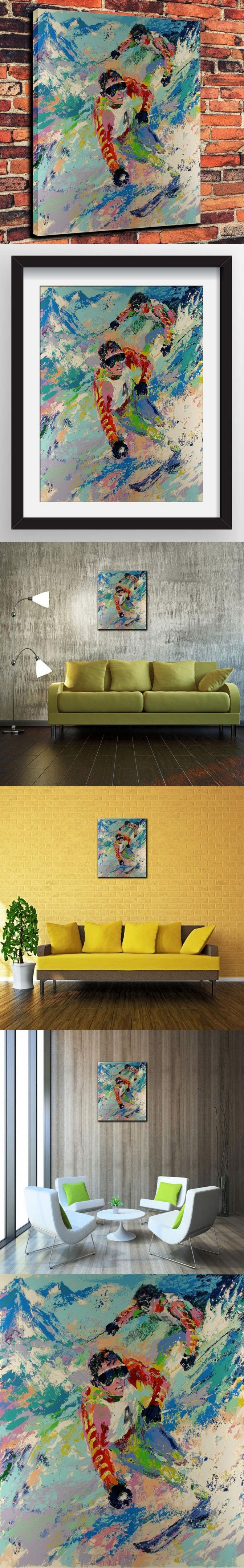 Canvas Artwork Prints Watercolor Oil Painting for Western Home Decor Which Skiing Twins By LeRoy Neiman Painted( No Framed ) $30