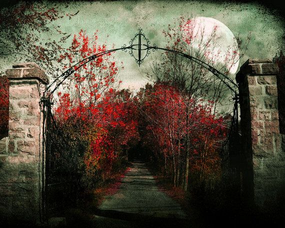 Le chemin St. Louis - erie dark path - crimson red magenta foliage - stone gate full moon