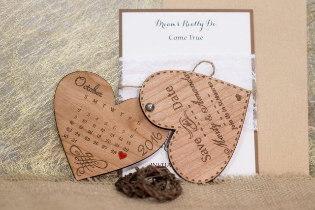 Wood Save-The-Date Magnets/ Engraved Wooden Wedding magnets / Laser Cut Rustic Handmade Save the Date Heart save the dates magnet wedding