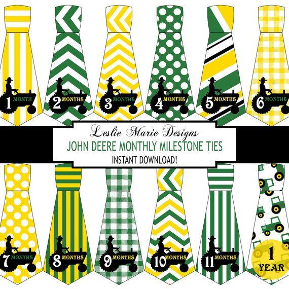 JOHN DEERE Inspired BABY Necktie Monthly by LeslieMarieINSTANT, $5.00