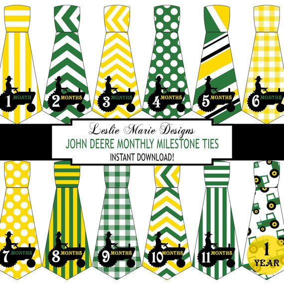 JOHN DEERE Inspired BABY Necktie Monthly by LeslieMarieINSTANT, $5.00                                                                                                                                                                                 More