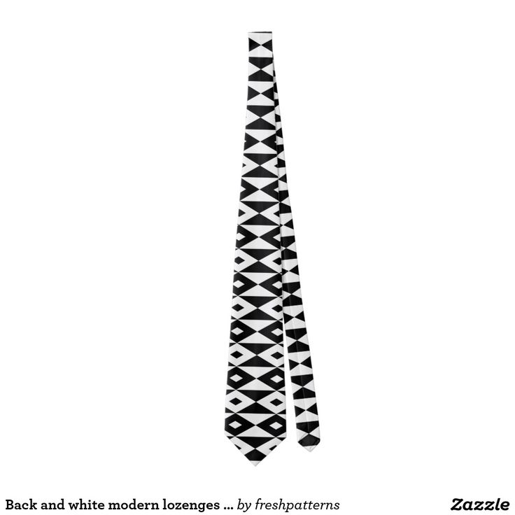 Back and white modern lozenges pattern tie