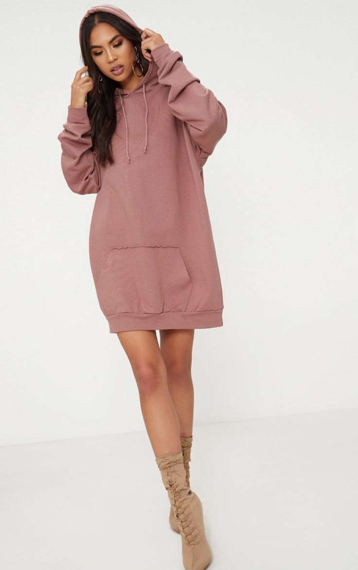 Dark Mauve Oversized Hoodie DressThis simple hoodie dress is now an essential in any wardrobe and...