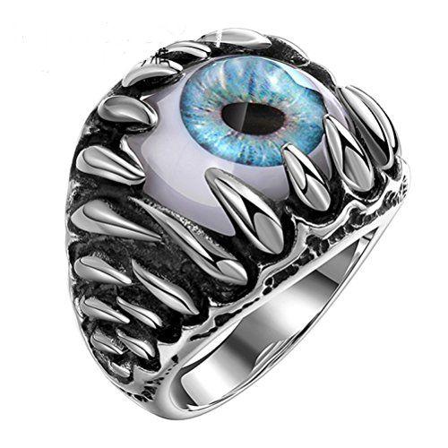 SunIfSnow Men's Super Cool Talons and Fangs Blue Devil's Eyes Titanium Steel Rings - http://www.spiritualgemstonejewelry.com/sunifsnow-mens-super-cool-talons-and-fangs-blue-devils-eyes-titanium-steel-rings/
