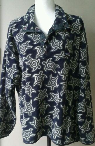 Vintage-PATAGONIA-Sea-Turtle-Aztec-T-Snap-Fleece-Pullover-Mens-Large