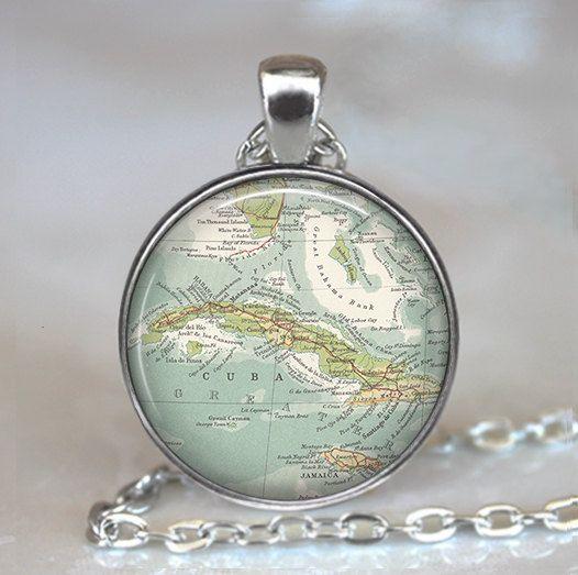 Cuba map pendant Cuba map necklace map by thependantemporium