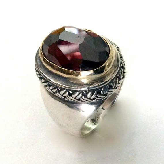 Garnet Ring statement ring cocktail ring sterling silver
