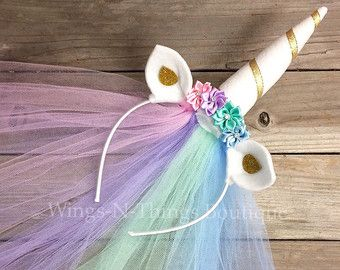 PINK GOLD UNICORN Headband little pony princess by wingsnthings13