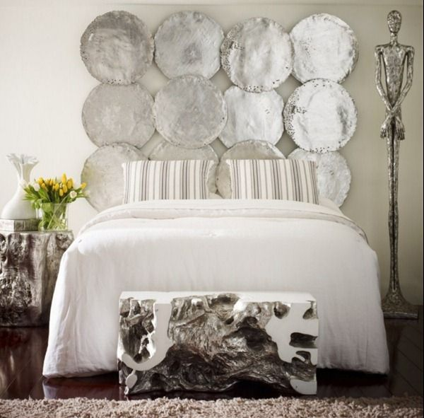 Phillips Collection s beautiful hammered metallic  Silver Leaf Wall Discs   wall decor is cleverly transformedBest 25  Silver bedroom decor ideas on Pinterest   Silver bedroom  . Silver And White Bedrooms Ideas. Home Design Ideas