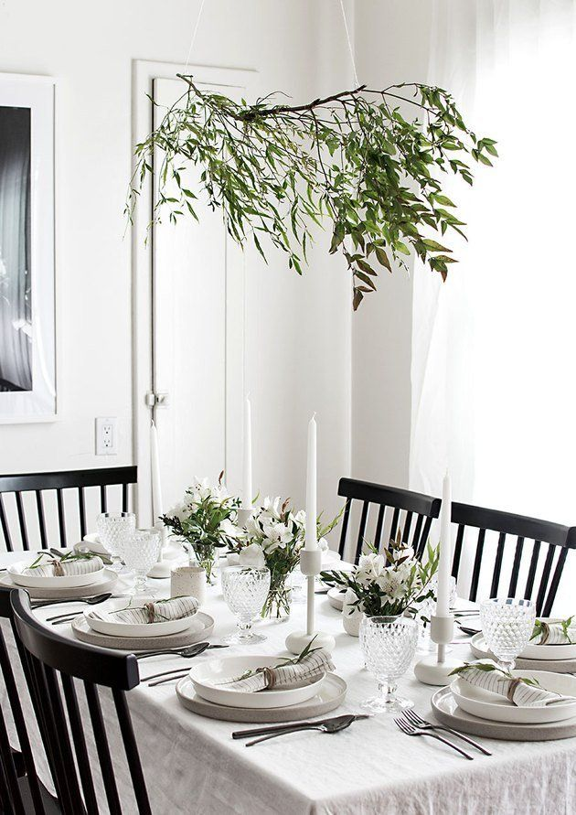 Modern White Dining Room With Black Chairs And Greenery Modern Tablescape Minimal Table Setting Table Decorations